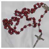 Wood Bead Silver Rosary