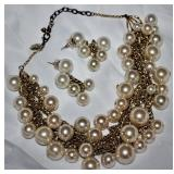 Scaasi Gold tone MultiChain and Simulated Pearl Necklace and Matching Earrings