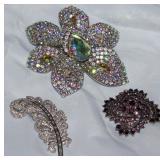 "Crystal & Rhinestone Brooches: Crystal Feather, Large Austrian Crystal 4"" Flower Brooch/Pendant"