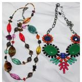 Gem Stones, Glass Beads and Crystal Robe Necklace and Amrita Singh Designer Multi Color Bib Necklace