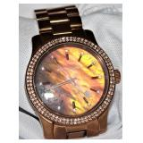 Michael Kors Rose Gold Wrist Watch Framed with Diamonds