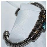 Sterling Bracelet 14KG Accent Bracelet with  Blue Topaz