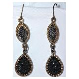 Black Crystal & Marquise Dangle Pierced Earrings