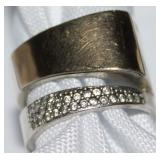 Sterling and Gold Ring with Pave Diamond
