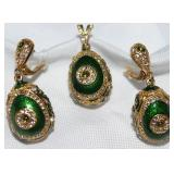 Russian Sterling Vermeil Green Enameled and Crystal Pierced Earrings and Pendant