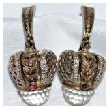 Russian Sterling Vermeil crowned Facetted Crystal with Garnets & Swarovski Crystal Pierced Earrings