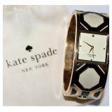 "Kate Spade ""When In Rome"" Delacorte Deco Enameled Gold Plated Stainless Bangle"