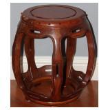 "Oriental Wooden Drumstool (17"" x 16"")"
