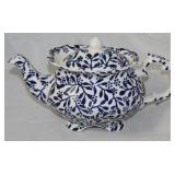 """Victorian"" Elegant Blue and White Porcelain Teapot (Made in England)"