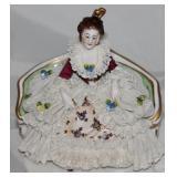 Dresden Vintage Porcelain Lady on Sofa