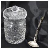- Waterford Cut Crystal Jam Jar; Argenta Sterling 925 Sauce Ladle