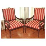 Federal Style Wood Frame Arm Chairs withShepherds Staff Curve Arm and Red and Gold Ribbon Stripe