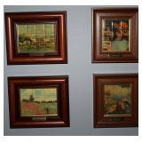 "J. Rabad Porcelain Mini Tile Framed Old Masters:  Renoir's Village (9"" x 8""), ""Reading Girl"" (1886)"
