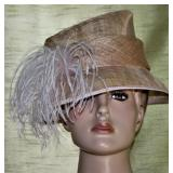 John Lewis Pink Hat with Ostrich feather