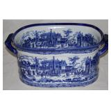 "Victoria Ware Iron Stone Blue and White Transfer Ware Flow Blue Style Tub (8""H x 16""L x 12""W)"