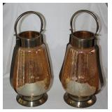 India Brass Iridescent Amber Glass Candle Lanterns