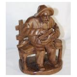 "Hand Carved Wooden ""Shoeshine Man"" Sculpture"