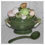 "Fitz & Floyd ""Giardino""  Hand Painted Porcelain Ceramic Soup Tureen with Lid and Ladle (c.2010-2013)"