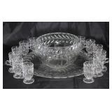 "Indiana Glass ""Laurez"" Punch Bowl with Footed Cups and Torte (17"") Plate"