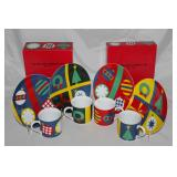 "Gene Meyer ""Holiday"" the Museum Of Modern Art 4 Mugs and Dessert Plates (2 sets)"