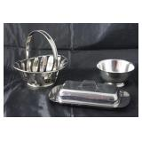 Silver Plate Leaf Basket, Oneida Silver Plate Paul Revere Bowl and a Stainless Covered Asparagus