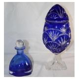 - Collezione Line Cobalt Cologne Bottle.- Bohemian Crystal Cobalt