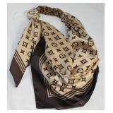 Isles of Capri, Italy Louis Vuitton Motif Design  Scarf Belt with Gold Tone Stirrup Closure and Chip