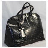 Arcadia Italian Large Embossed Top Stitched Black Leather Handbag