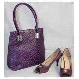 Marco Ventura Italian Eggplant Ostrich Leather  Handbag  Shown with Anne Taylor Loft Eggplant Suede