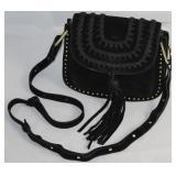 Kate Spade New York Vintage Black Satin Evening Bag with Gold tone Chain & Black Leather Shoulder St