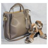 Horse in Pelle Italian Leather Taupe Handbag with Removable Shoulder Strap shown with Nine West Faux