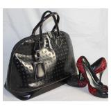 Arcadia Italian Large Embossed Top Stitched Black Leather Handbag Shown