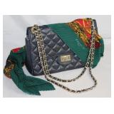 Bagitali Italian Quilted Leather Handbag with Cross Body Chain Shoulder Strap shown with Emmanuel