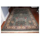 Imported Persian Style Fringed Sage Green and Ecru Rug (6