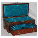 "Oriental Wooden Jewelry Box with Key Lock (12""W x 5 1/2""H x 6""D) (OPENED)"