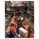 loaded basement, holiday decor, kitchenware, bakeware, white kitchen cabinets and toys, toys, toys!