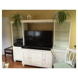 Farmhouse white entertainment center (TV & electronics NOT FOR SALE)