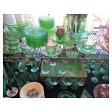green, pink & yellow Depression Glass