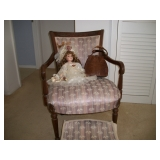 ANTIQUE CHAIR & FOOT STOOL, ALLIGATOR PURSE