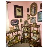 Chippendale cane furniture and vintage prints