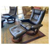 Leather recliner ottoman