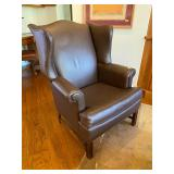 Leather highback arm chair