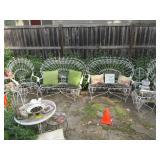 Antique peacock patio set