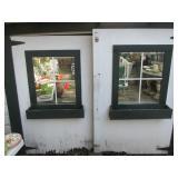 Garage doors with window box trim