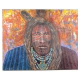 "Original Mac Coyote ""Three Feathers"" Oil on Canvas"