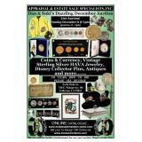 AUCTION !! Sun. Dec. 8th at 2pm Coins & Vintage HAVA Jewelry, Disney Pins + Antiques & Collectibles