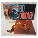 1207LOT OF FIVE BO DIDDLEY ALBUMS ON CHECKER RECORD LABEL THREE ARE BLACK LABEL TWO ARE MAROON, BO-