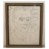 1010PABLO PICASSO SIGNED LITHOGRAPH TITLED *FREDERICK JOLIOT CURIE*, HAND SIGNED IN RED, NUMBERED 1