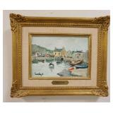 1011FERNAND HERBO OIL ON BOARD HARBOR SCENE, SIGNED LOWER LEFT, IMAGE 8 1/2 IN X 6 IN, OVERALL DIME