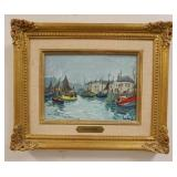1012FERNAND HERBO OIL ON BOARD HARBOR SCENE, SIGNED LOWER RIGHT, IMAGE 8 1/2 IN X 6 IN, OVERALL DIM